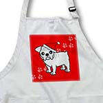 click on Cute Bulldog White Coat - Cartoon Dog - Red with Santa Hat to enlarge!