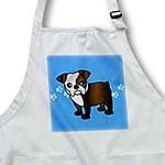 click on Cute Bulldog Dark Brindle and White Coat - Cartoon Dog - Blue with Pawprints to enlarge!