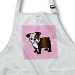 click on Cute Bulldog Dark Brindle and White Coat - Cartoon Dog - Pink with Pawprints to enlarge!