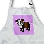 click on Cute Bulldog Dark Brindle and White Coat - Cartoon Dog - Purple with Pawprints to enlarge!