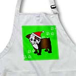 click on Cute Bulldog Dark Brindle and White Coat - Cartoon Dog - Green with Santa Hat to enlarge!