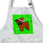 click on Cute Bulldog Red Coat with Black Mask - Cartoon Dog - Green with Santa Hat to enlarge!