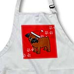 click on Cute Bulldog Red Coat with Black Mask - Cartoon Dog - Red with Santa Hat to enlarge!