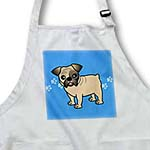 click on Cute Bulldog Fawn Coat with Black Markings - Cartoon Dog - Blue with Pawprints to enlarge!
