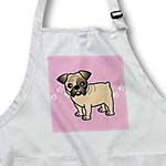 click on Cute Bulldog Fawn Coat with Black Markings - Cartoon Dog - Pink with Pawprints to enlarge!