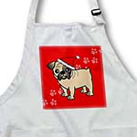 click on Cute Bulldog Fawn Coat with Black Markings - Cartoon Dog - Red with Santa Hat to enlarge!