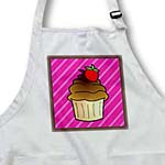 click on Cute Chocolate Cupcake with Strawberry - Kawaii Cakes - Pink Stripe to enlarge!