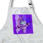 click on Happy 43rd Birthday, Strawberry Ice Cream Cone on Abstract, Purple to enlarge!
