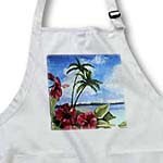 click on Island Scene with Hibiscus Flowers in Foreground on Textured Background to enlarge!