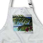 click on Island Scene Looking Through Window with Hibiscus Flowers and Palm Leaves on Textured Background to enlarge!