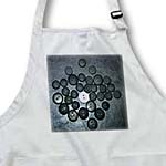 click on One Big White Button In the Center of Small and Large Black Buttons on a Black Leather Backdrop to enlarge!