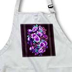 click on Assorted bouquet of purple and turquoise flowers with dark purple textured background and light line to enlarge!