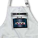 click on Cute kawaii happy smiling oven filled with baking cupcakes - for chefs foodies and cooking fans to enlarge!