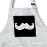 click on White mustache on black - Ironic hipster moustache - Humorous - Fun - Whimsical - Silly - Funny to enlarge!