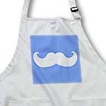 click on White mustache on blue - Ironic hipster moustache - Humorous - Fun - Whimsical - Silly - Funny to enlarge!