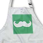 click on White mustache on green - Ironic hipster moustache - Humorous - Fun - Whimsical - Silly - Funny to enlarge!