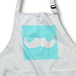 click on White mustache on sky blue - Ironic hipster moustache - Humorous - Fun - Whimsical - Silly - Funny to enlarge!