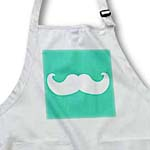 click on White mustache on aqua teal turquoise - Ironic hipster moustache - Humorous - Fun - Silly - Funny to enlarge!