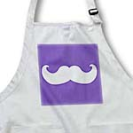 click on White mustache on violet dark purple - Ironic hipster moustache - Humorous - Fun - Whimsical - Funny to enlarge!