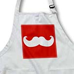 click on White mustache on red - Ironic hipster moustache - Humorous - Fun - Whimsical - Funny to enlarge!
