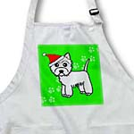 click on Cute Cartoon West Highland Terrier - Westie Dog with Santa Hat Green to enlarge!