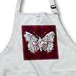click on Pretty Lacey Butterfly On A Ruby Red Damask Background to enlarge!