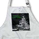 click on Pretty Christmas Tree Happy New Year in Black and White With Green Text to enlarge!