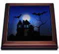 click on Haunted House, Bats and Full Moon Amongst a Midnight Blue Background to enlarge!